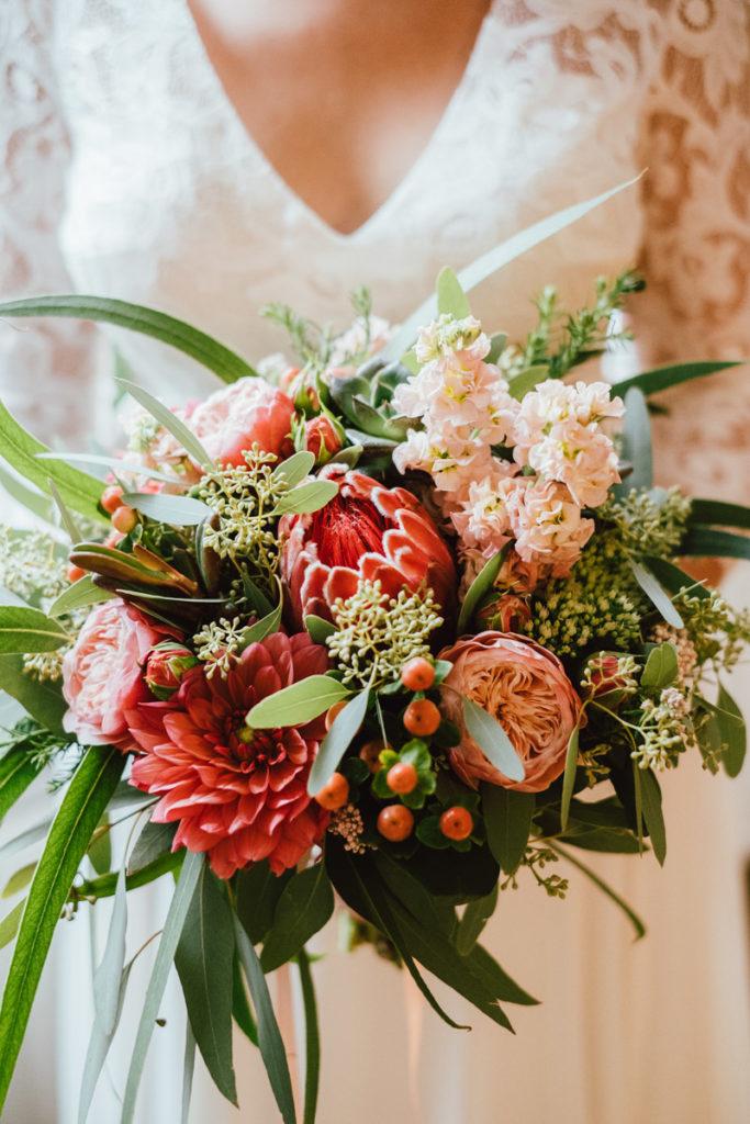 Bouquet de la mariée lors des préparatifs à Ixelles